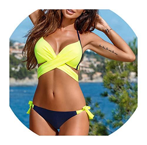 Swimwear Women Triangle Thong Bikini Set Bandage Push-Up Swimsuit for Female Bathing Bow Lace Up Beachwear Plus Size S-2Xl,Yellow,L