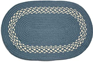 product image for Oval Braided Rug (2'x3'): Williamsburg Blue - Williamsburg Blue & Cream Band