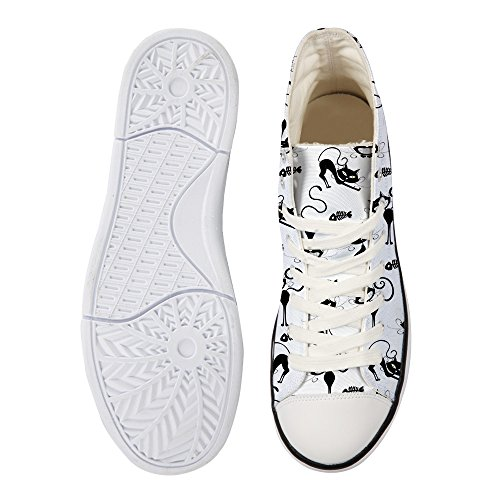 Cartoon DESIGNS 3 Flat FOR Shoes Women Sneakers Canvas Cat White U Hi Casual Top Walking qBnfE