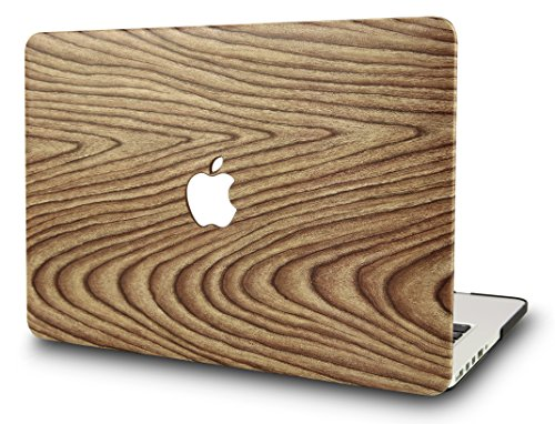 KEC MacBook Pro 13 Inch Case (CD Drive) Plastic Hard Shell Cover A1278 (Pine Wood - Logo Wood