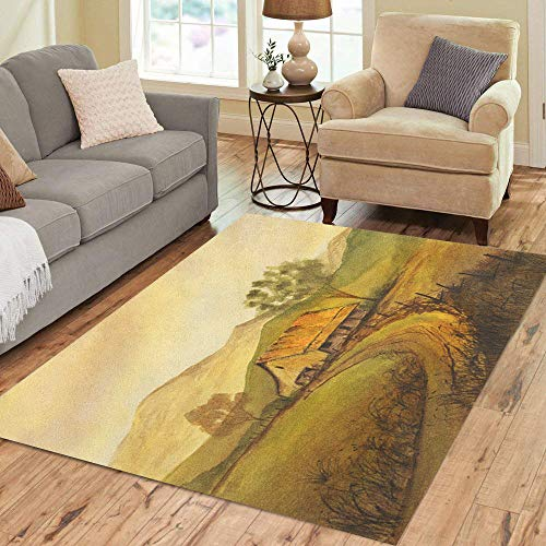 Artist Studio Collection Rug - Semtomn Area Rug 3' X 5' Blue Oil Very Nice Original Watercolor Painting on Green Home Decor Collection Floor Rugs Carpet for Living Room Bedroom Dining Room