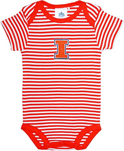 - Creative Knitwear University of Illinois Fighting Illini Baby Striped Bodysuit Orange/White