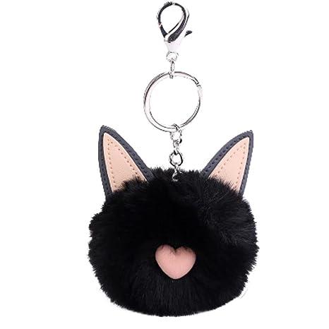 Diseño de orejas de gato de peluche bola llavero, vneirw Artificial de piel de conejo llavero clave Anillo bolsa para coche, negro, 50.5×32×61.8mm