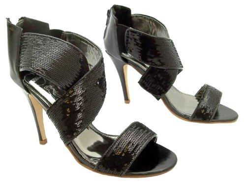 Size 7 Susst Womens Hannah 2 Black Sequin Zip Back High Heel Open Toe Dress Shoes uOdw2zAB