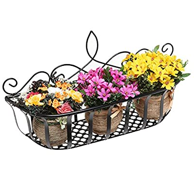 Wall Mounted Scrollwork Design Black Metal Home Storage Organizer Basket / Flower Pot Planter Rack