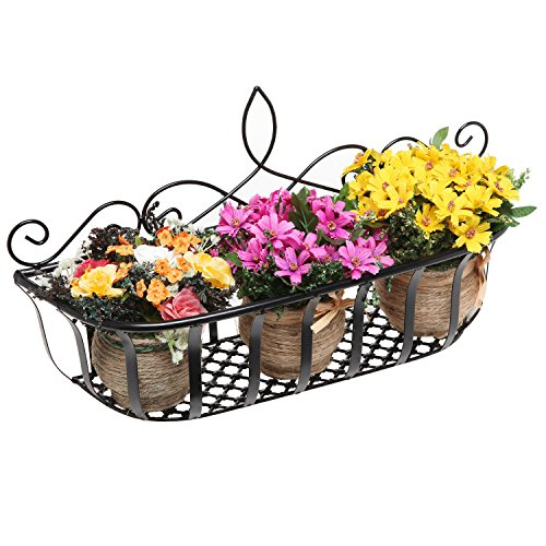 Wall Mounted Scrollwork Design Black Metal Home Storage Organizer Basket / Flower Pot Planter Rack