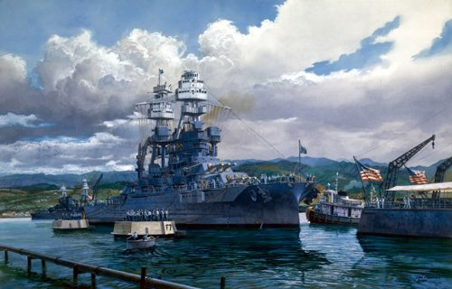 """The Last Mooring"" - Tom Freeman - USS Arizona World War II Naval Art (Limited Edition)"