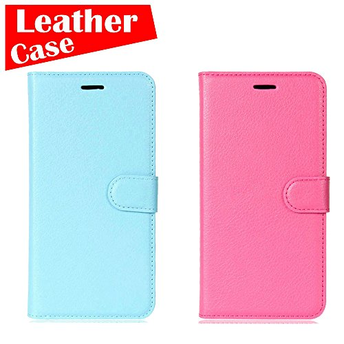 LG G5 Case, 2 Pack case [Blue+Rose Red] [eBuyLife] Phone Case For LG G5 H860N, Leather Protective Wallet Slim Soft Folio Cover Credit Card Slots Cash Clip Stand Holder Magnetic - Charge Cover Liv