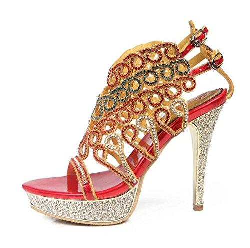 A Aguja Imitación Fiesta De Tacón Nupcial Boda 4 35 Zapatillas Plataforma Zapatos Mujer Vestir Nvxie Cuero Red Nocturna Nocturno Tamaño Diamante Resplandecer Sandalias Club Banquete Cristal v8qxgpw5H