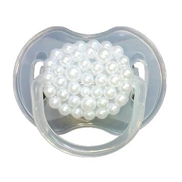 Dollbling personalizado única chispa rhinestones/blanco perlas cristales bebé chupete, 1pc (Perlas)