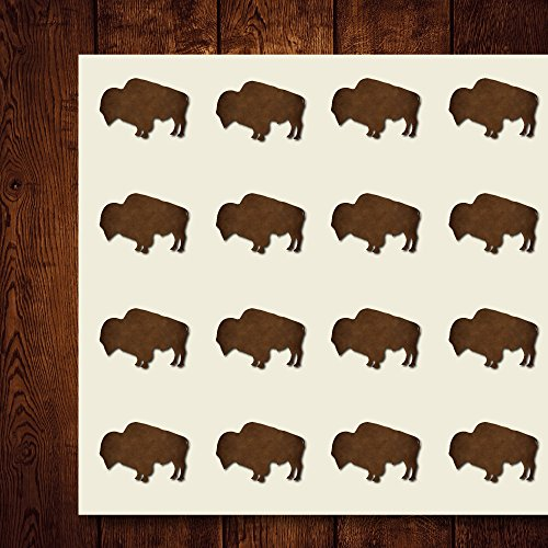 Buffalo Craft Stickers, 44 Stickers at 1.5 Inches, Great Shapes for Scrapbook, Party, Seals, DIY Projects, Item 1321785
