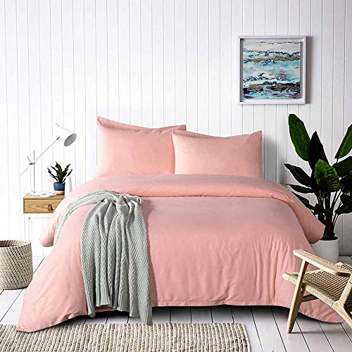 Tanzy Coral Queen Duvet Cover Set,Solid 90 x 90 Soft Plush Lightweight Microfiber Bed Quilt Comforter Covers with Zip Closure - Cool/Modern Hotel 3 Piece (2 Pillowcase, 1 Cover) (King, White) (Coral Solid Bedding)