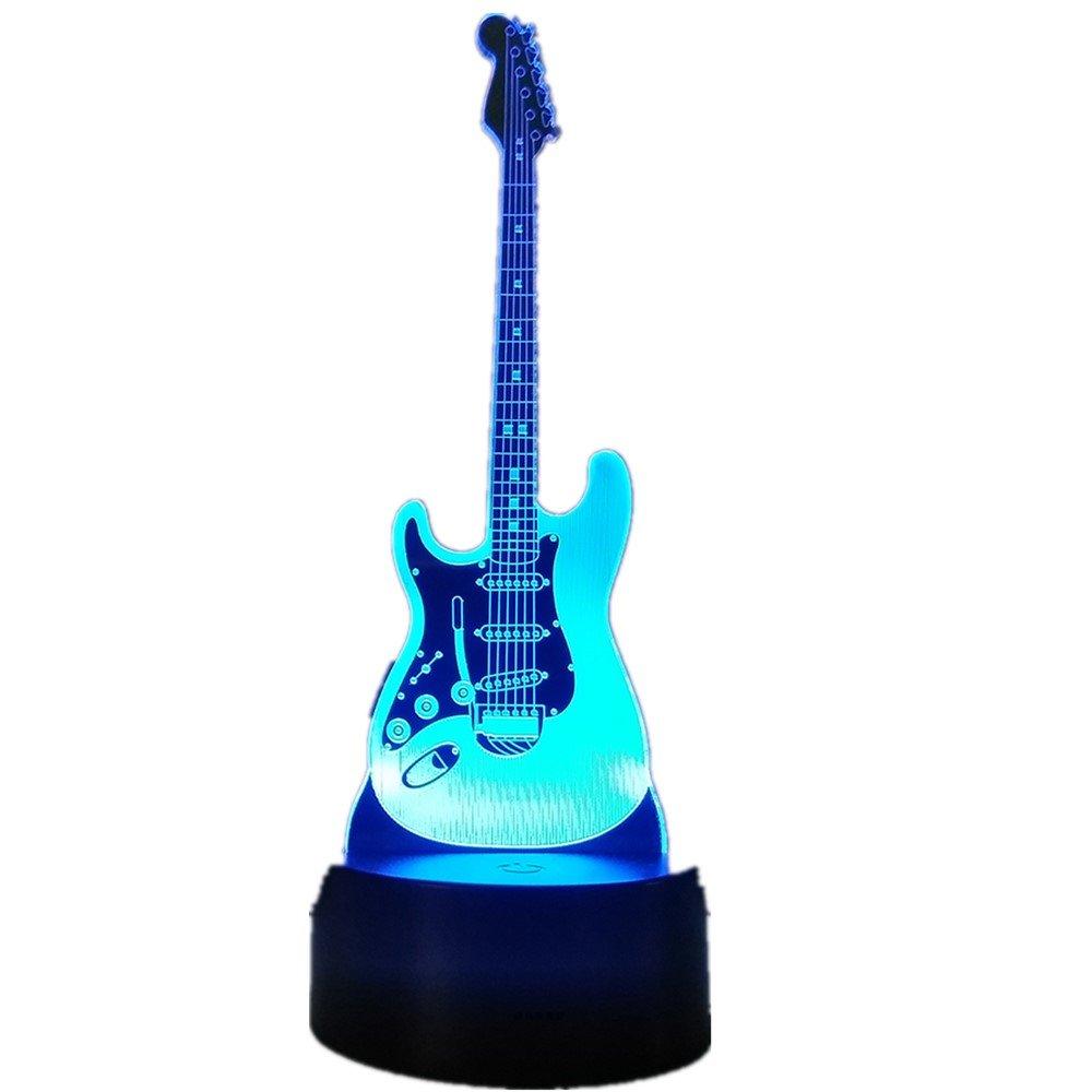 3dlamp Guitar Music 3D Light Electric Illusion Lamp LED 7 Color Changing USB Touch Sensor Desk Light Night Light