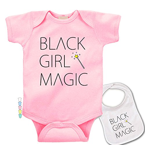 Girls Black Magic - Black Girl Magic -Cute Boutique Novelty Baby Bodysuit & bib Set