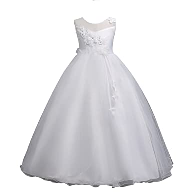70b699e9155e6 YuanDian Fille Enfant Fil Net Tulle Longue Ceremonie Robe De Soirée Fleurs  Mariage Demoiselle d Honneur