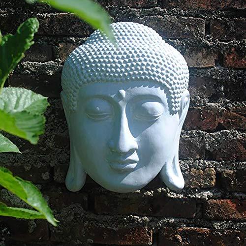 - zenggp Antique Thai Buddha Head Wall Hanging Plaque Home Garden Decor - Peace Garden Decor - Meditating,White