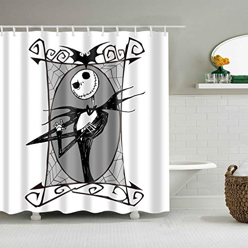 BARTORI Home Decorative Shower Curtain with Free Hooks Cartoon Stick Figure Horror Vampire Jack Skellington with White Background Waterproof Polyester Fabric Bath Curtain with Size 71X71