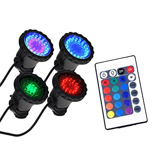 WEKSI 4Pcs RGB 36 LED Submersible Spot Light Underwater C...