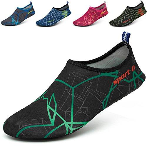 CASMAG Männer Frauen Quick-Dry Wasser Schuhe Barfüßig Aqua Socken Für Yoga Strand Schwimmen Pool Übung Surf Grün Schwarz