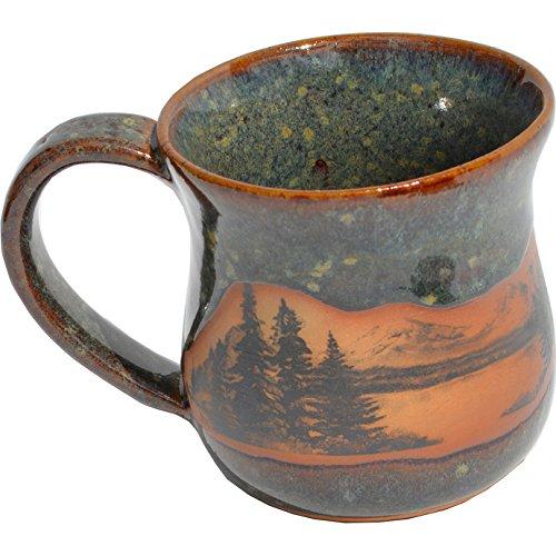 Mountain Scene Mug in Seamist Glaze ()