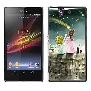 Be Good Phone Accessory // Dura Cáscara cubierta Protectora Caso Carcasa Funda de Protección para Sony Xperia Z L36H C6602 C6603 C6606 C6616 // Meteor Shower Art Night Sky Sisters