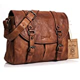 NiceEbag Briefcase Vintage Messenger Bag Retro Style Genuine Leather Bag Shoulder Bag for Men Women Fit Up 15.6 Inch Laptop (Brown)