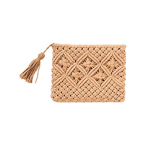 Sac à main en bambou, yunt sac fourre-tout tissé à la main sac demi-lune pour les femmes, Sac à bandoulière sac à bandoulière sac à bandoulière sac à main Khaki