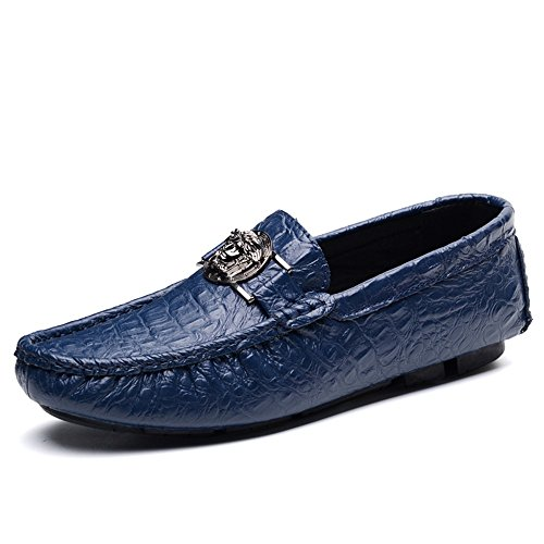 casual Verde Color pelle shoes in da Mocassini uomo stampa Xiazhi alligatore 41 EU Blu con Dimensione Paw1IH4