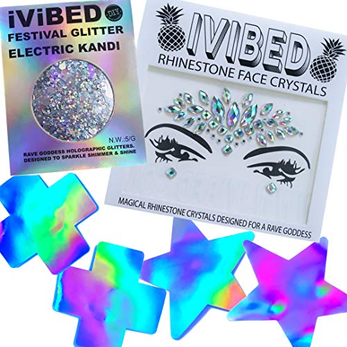 (Rave Glitter EDM Face Crystals Gems Neon Holographic Pasties Electric)