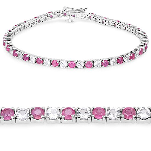 Genuine Ruby and White Topaz .925 Sterling Silver Tennis Bracelet