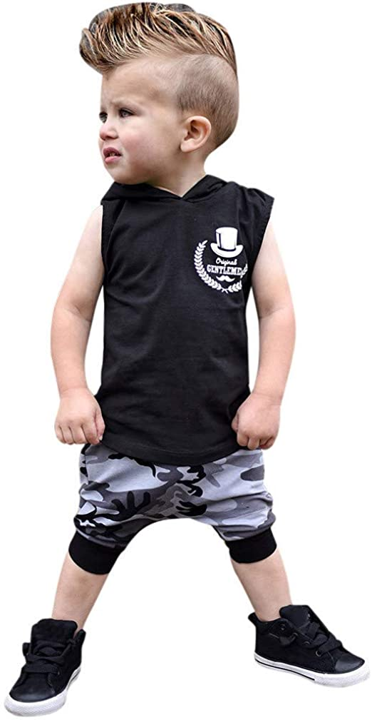 Pants Clothes Boys Outfits Sets 2PCS Toddler Kids Baby Boy  Sleeveless T-Shirt