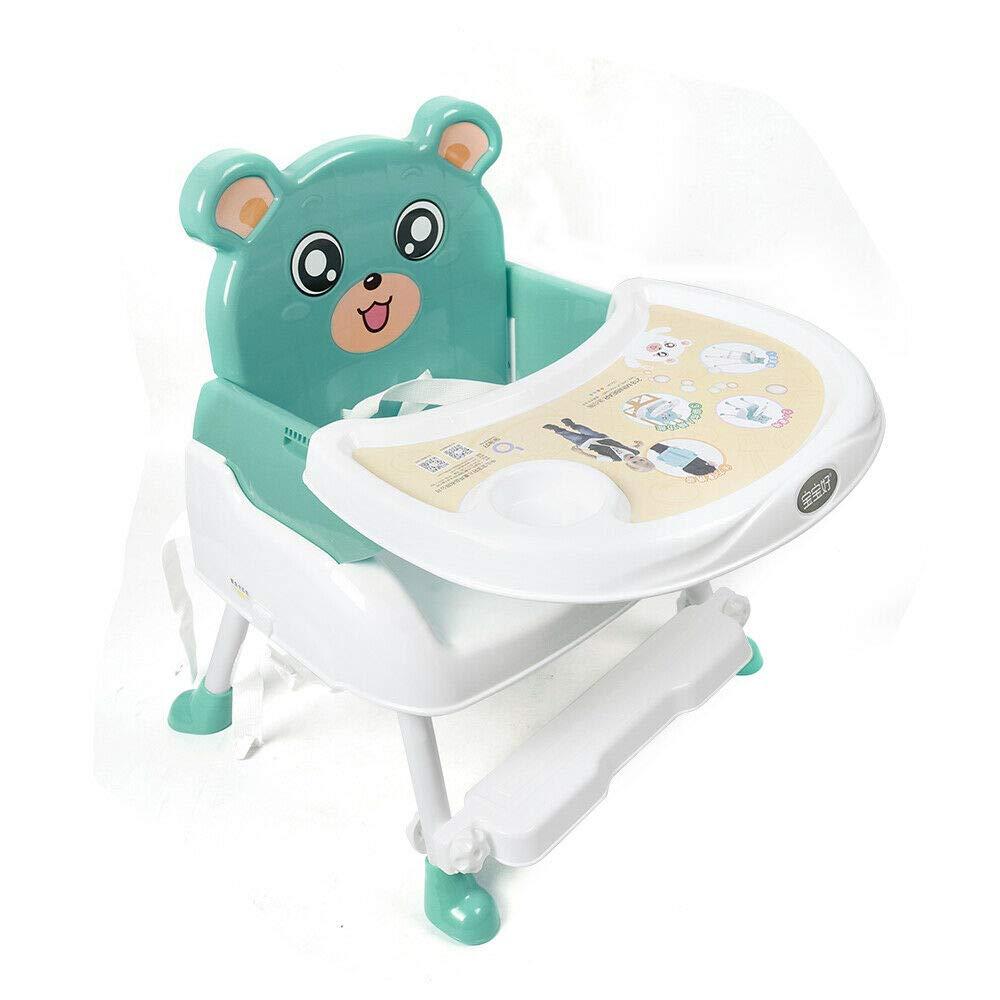 Generic 4 in1 Baby Kinderhochstuhl Portable Hochstuhl Baby-F/ütterungsstuhl mit Tablett und Fu/ßst/ütze H/öhenverstellbar und Klappbar Blau
