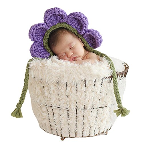 M&G House Fashion Cute Newborn Photography Props Knitted Crochet Costume Baby Photo Shoot Sunflower Beanie Hat (Sunflower Costumes Infants)