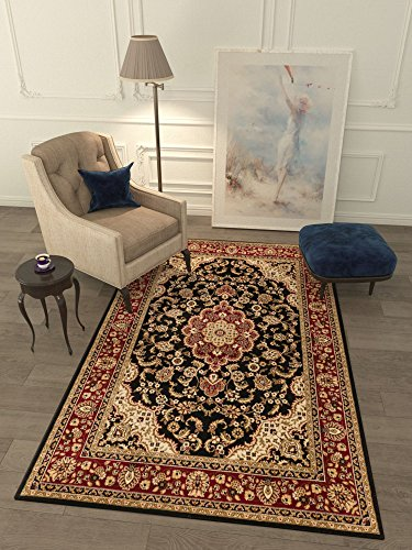 "Cheap Persian Classic Black Noir 3'11"" x 5'3"" Area Rug Oriental Floral Motif Detailed Classic Pattern Antique Living Dining Room Bedroom Hallway Home Office Carpet Easy Clean Traditional Soft Quality"