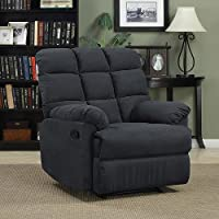 Prolounger Wall Hugger Microfiber Biscuit Back Recliner - Gray - Living Room Furniture - Comfortable Chair - Perfect for Home Theater and Media Rooms - 100 Percent Polyester Microfiber Fabric - ISTA 3A Certified - 1 Year Product Warranty