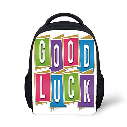 iPrint Kids School Backpack Going Away Party Decorations,Colorful Vibrant Blocks with Letters Saying Good Luck Modern,Multicolor Plain Bookbag Travel Daypack