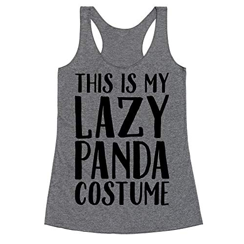 LookHUMAN This is My Lazy Panda Costume XL Heathered Gray Women's Racerback Tank]()