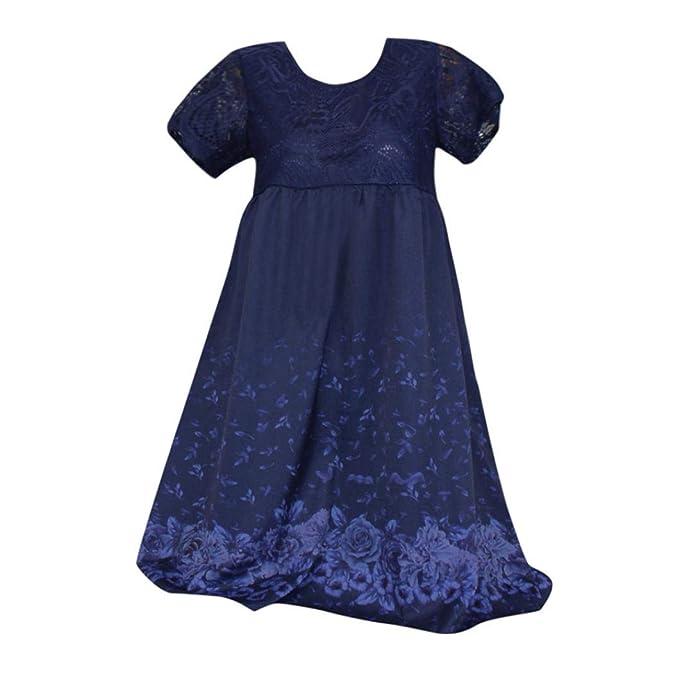 Vestidos Fiesta De Mujer Cortos, Cuello Diario Corto Mangas Casual Suelto Faldas (Azul,
