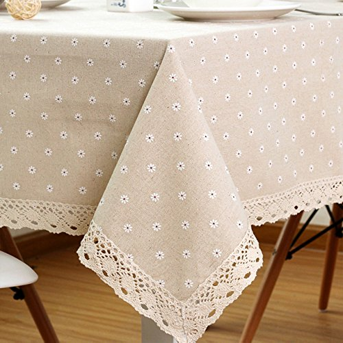ColorBird Daisy Flower Cotton Linen Tablecloth Macrame Lace Dustproof Table Cover for Kitchen Dinning Pub Tabletop Decoration (Rectangle/Oblong, 55
