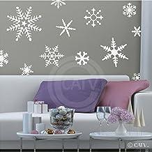 White winter snowflakes vinyl decal set (Large set of 12)
