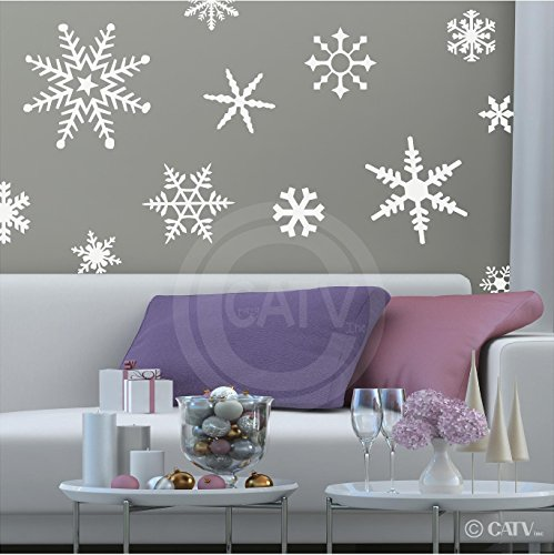 Large Snowflakes set of 12 wall saying vinyl lettering decal home decor art quote sticker (White) for $<!--$14.99-->