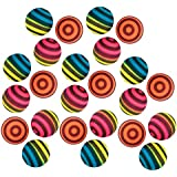 Kidsco Striped Bouncing Balls - Pack of 24 – Assorted Neon Colored Stripe Designs High Bouncing Balls – for Kids Great Party Favors, Bag Stuffers, Fun, Toy, Gift, Prize