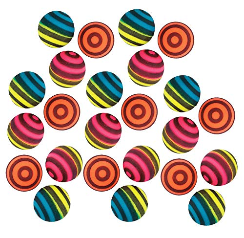 Gymnastics Party Favor Box - Kidsco Striped Bouncing Balls - Pack of 24 – Assorted Neon Colored Stripe Designs High Bouncing Balls – for Kids Great Party Favors, Bag Stuffers, Fun, Toy, Gift, Prize