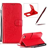 Strap Case for iPhone SE,Wallet Leather Cover for iPhone 5S,Herzzer Classic Elegant [Red Butterfly Pattern] PU Leather Fold Stand Card Holders Smart Phone Case for iPhone SE/iPhone 5/5S + 1 x Free Red Cellphone Kickstand + 1 x Free Claret-Red Stylus Pen