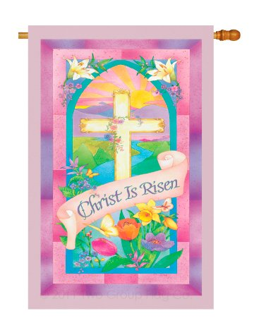 Breeze Decor - Christ is Risen Spring - Seasonal Impressions Decorative Vertical House Flag 28