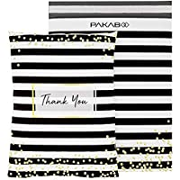 PAKABOO Poly Mailer Shipping Bags 6x9 Inch, 100 Pack, Non-Padded Envelopes with Tamper Proof Self-Seal, Thank You Black…