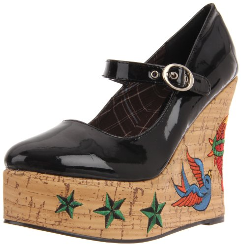 Penthouse-Womens-Kat-Tattoo-Embroidered-Wedge