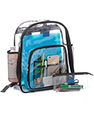 Clear School Security Backpack, Unisex Transparent Travel Work Bag, Pencil Case Included, Mesh Pockets for Water...