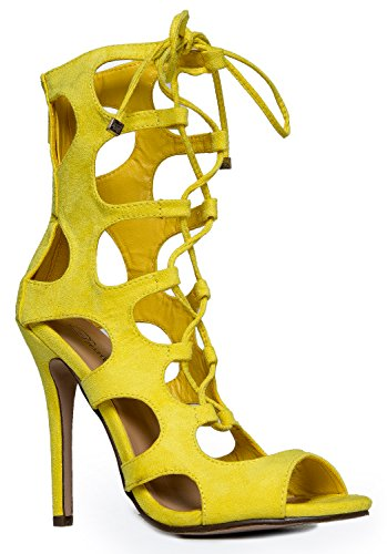 Lace Up Gladiator High Heel - Peep Toe Suede Shoe - Sexy Dress Cut Out Sandal Heel, Yellow, Size 6