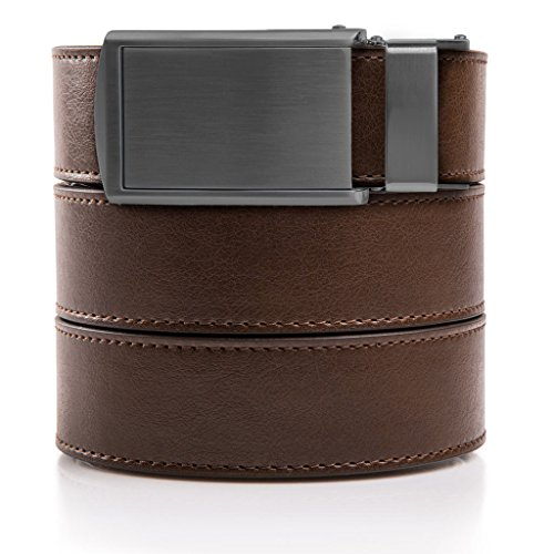 slidebelts-mens-animal-friendly-leather-belt-without-holes-gunmetal-buckle-mocha-brown-leather-trim-